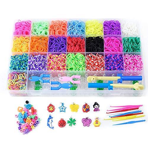 a6276d388fb6 Kit de bandas de telar de goma, bandas de goma Twist Loom Set Pulsera Kits  de herramientas para niños adultos Telar DIY Artesanía
