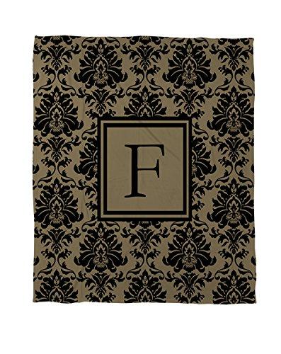 Manuelle holzverarbeiter & Weavers Bettbezug-, Monogramm Buchstabe F, schwarz und gold Damast