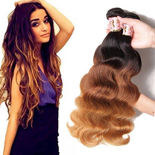 Cheveux Vierges brésiliens Ombre 16 18 50,8 cm Extensions de cheveux humains Corps tissage 3pieces/Lot cheveux wave trames 100% 95–100 g/pc (1b #/4 #/27 #)