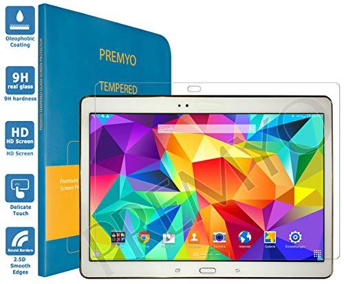 PREMYO Panzerglas Schutzglas Bildschirmschutzfolie Folie kompatibel für Samsung Galaxy Tab S 10.5 Blasenfrei HD-Klar 9H Gegen Kratzer Fingerabdrücke