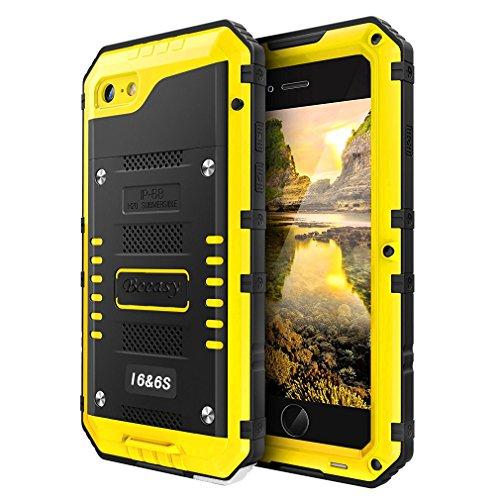 Beeasy Handy Case Kompatibel mit iPhone 6/6S Wasserdicht Handyhülle Outdoor Stoßfest Militärstandard Schutzhülle mit Displayschutz Robust Metall Bumper Schutz Stürzen Stößen Heavy Duty Hülle Gelb