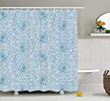 keiwiornb Dahlia Flower Decor Shower Curtain, Retro Monochrome Pastel Water Cane Petals Pattern with Disc Florets Print, Fabric Bathroom Decor Set with Hooks,60W X 72L inches