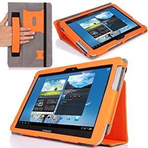 MoKo Slim Cover Case for Samsung Galaxy Note 10.1 N8000 N8010 N8013 Tablet, ORANGE (with Flip Stand, and Integrated Elastic Hand Strap)