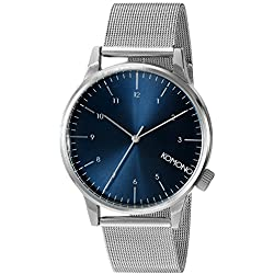Komono Winston Royale Silver Blue Men's Quartz Watch with Blue Dial Analogue Display and Silver PU Strap KOM-W2353