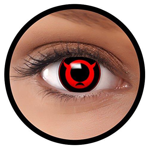 FXEYEZ® Farbige Kontaktlinsen rot Bull + Linsenbehälter, weich, ohne Stärke als 2er Pack - angenehm zu tragen und perfekt zu Halloween, Karneval, Fasching oder Fasnacht
