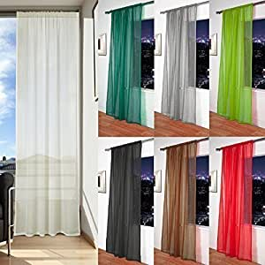 "Mosul - Muslin / Linen Effect Slot Top Voile Curtain Panel (Cream, 56"" x 72"")"