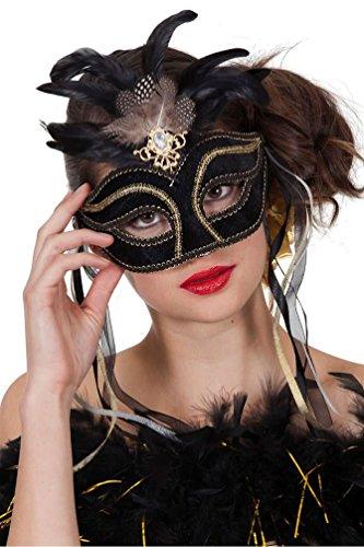 Maske Feder Maskenball (Karneval Klamotten Venezianische Masken Damen Venezianische Maske schwarz gold mit Federn und Schmuck Luxus Augenmaske Venedig Venezianisch für Maskenball)