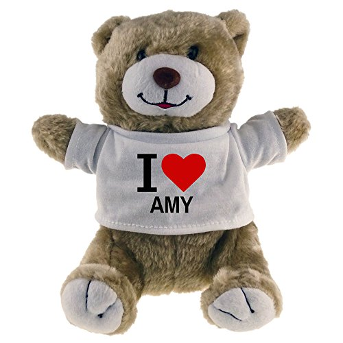 Multifanshop Kuscheltier Bär Classic I Love Amy beige - Lustig Witzig Sprüche Party Stofftier Püschtier - Amys Bären