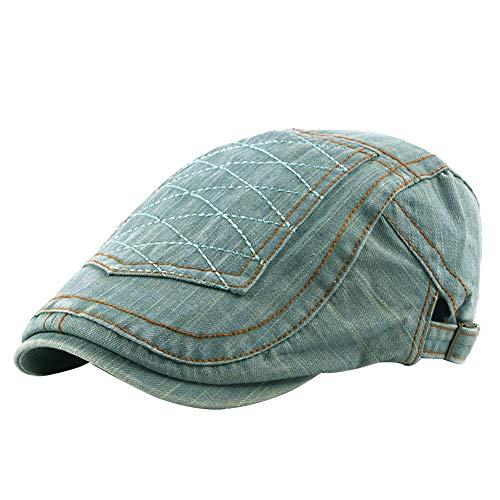 Demarkt Herren Flache Kappe Vintage Schiebermütze Klassischer Knit Flacher Hut Schlägermütze Golfermütze Flat Cap Size 55-60cm (hellblau)