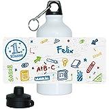 Eurofoto Trinkflasche mit Namen Felix und 1. Klasse-Motiv für Jungen, aus Aluminium