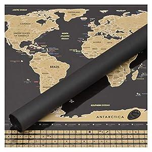 Perfect Travel Map - Wunderschöne XXL Rubbel-Weltkarte in Schwarz, Das Perfekte Geschenk für Jeden Weltenbummler, Globetrotter, Urlauber, Backpacker Oder Sprachschüler (Poster: 87 x 54cm)