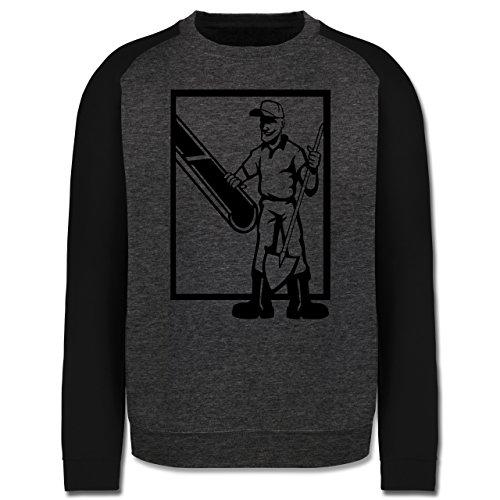 Handwerk - Betonmischer - Herren Baseball Pullover Dunkelgrau Meliert/Schwarz