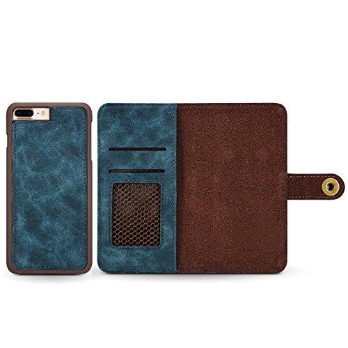 Schutzhülle für Apple iPhone 8 Plus 5.5 Zoll Hülle Brieftasche mit Kartenfächern und abnehmbarer magnetischer Handy Case Blau