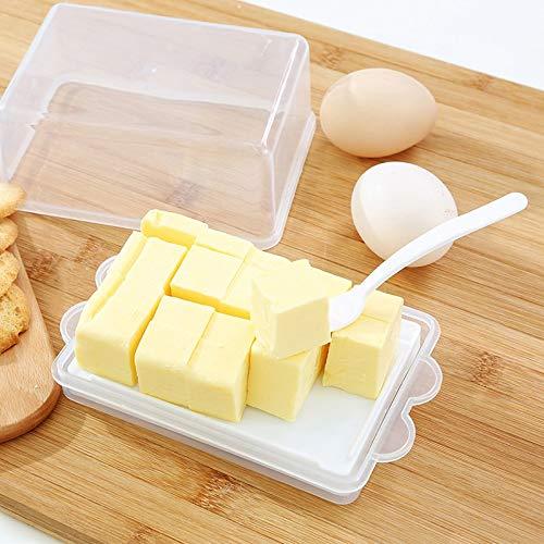 JQPFNPEI Transparent Butter Aufbewahrungsbox Fall Container Käse Server Keeper Tray Mit Messer & Partition Küche Zubehör -