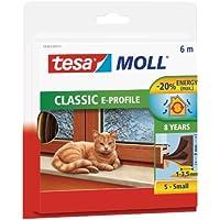 Tesa 05463-00121-00 Burlete de Caucho Perfil E, 6 m x 9 mm, Color marrón, 4 mm