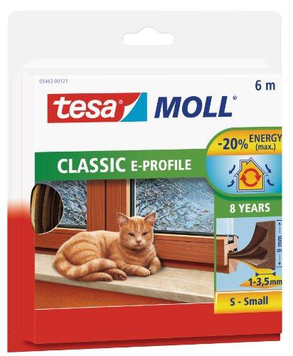 tesamoll Gummidichtung für Fenster und Türen, braun, CLASSIC, E-Profil, 6m