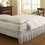 Easy Fit Ruffled Eyelet Bed Skirt, Twin/Full, White