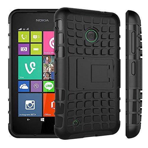 Qiaogle Telefon Case - Shockproof TPU + PC Hybrid Ständer Schutzhülle Case für Nokia Lumia 530 (4.0 Zoll) - HH04 / Schwarz (Nokia Lumia 530 Case Hybrid)