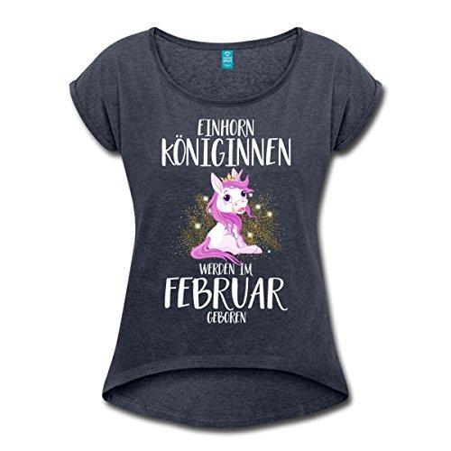 Spreadshirt Einhorn Königinnen Im Februar Geboren Frauen T-Shirt mit gerollten Ärmeln, S, Navy meliert (T-shirt Mädchen Geboren)