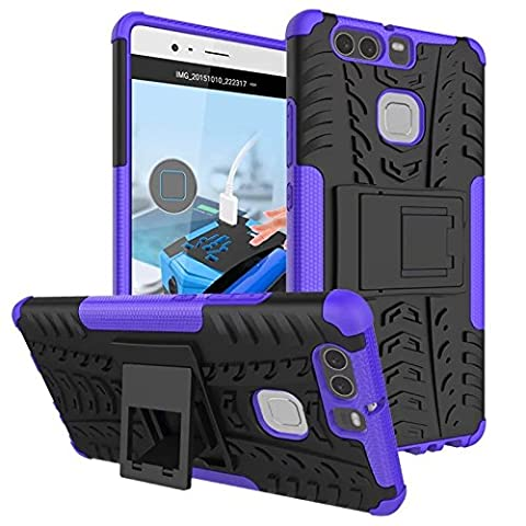 Dooki, Huawei P9 Case, Tough Strong [Kickstand] [Shockproof] [Drop Resistance] [High Impact] [Heavy Duty] [Hybrid 2 In 1] Hard Silicone Rubberized Dual Layer Protective Case Cover For Huawei P9 (F-3)