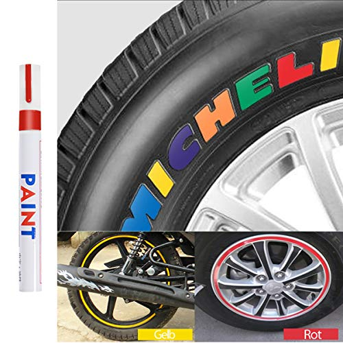 Qbisolo Reifenfarbe Marker Pens, wasserdichte Permanent Pen Reifenstift Marker Stift für Auto Motorrad Reifenprofil Fahrradreifen