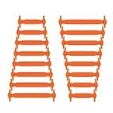 Joyshare No Tie Shoelaces für Kinder und Erwachsene Wasserdichte Silikon flache elastische Sportlauf Schnürsenkel mit Multicolor für Sneaker Stiefel Brettschuhe und Freizeitschuhe (Orange)