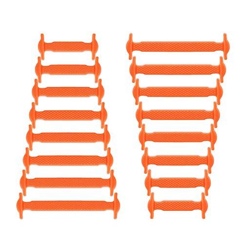 Joyshare sin corbata Cordones de zapatos para niños y adultos cordones de zapatos de atletismo atlética de silicona elástico plano de los zapatos del tablero Sneaker boots (Orange)