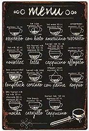 metal tin sign Coffee menu for Bar Cafe Garage Wall Decor Retro Vintage 7.87 X 11.8 inches