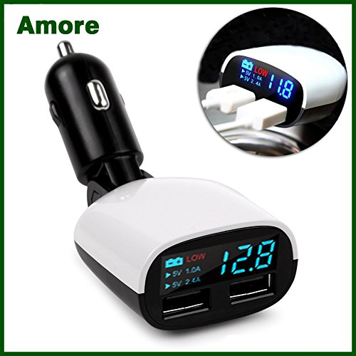 Amore Xolo Era 4K Compatible Car Charger 3.4 Amp Dual USB Intelligent Chip Super Fast Plug Car Charger with LED Display and Low Voltage Alarm Digital Car Charger