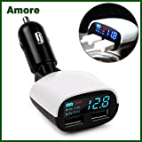 #5: Amore Sony Xperia M5 Compatible Car Charger 3.4 Amp Dual USB Intelligent Chip Super Fast Plug Car Charger with LED Display and Low Voltage Alarm Digital Car Charger