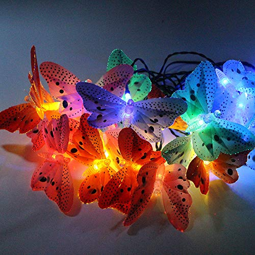 Led Fiber Schmetterling Solar Fairy Kette Licht Schmetterling Outdoor Garten Terrasse Street Party Dekoration Ofen Farbe 20Led -
