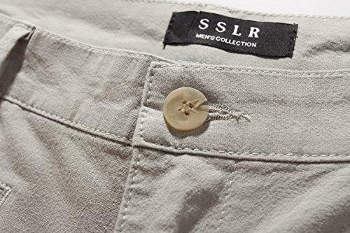 SSLR Herren Leinen Gefühl Regular Fit Flat Front Casual Shorts Grau