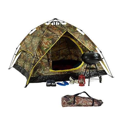 relaxdays Campingzelt, für 2-3 Personen, Quick-Up, 2in1-Funktion, H x B x T: 115 x 200 x 150cm, Camouflage