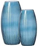 Ritzenhoff & Breker Vasen-Set Boa, 2-teilig, Blau, 25 cm und 30 cm hoch, Glas