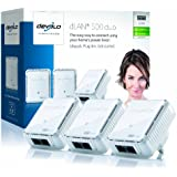 Devolo dLAN 500 Duo Add-On Powerline Adapter, Easy Ethernet Access Through Your Powerline (500 Mbps, 2 LAN Ports, Small, Compact and Unobtrusive Design, PLC Adapter, Ethernet) - White, Pack of 3