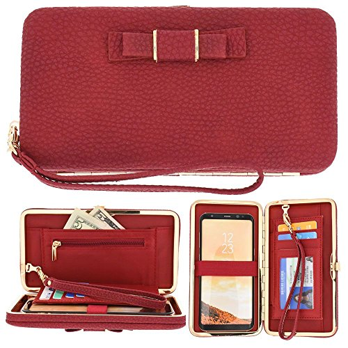 CellularOutfitter Bow Clutch Wallet w/ Hideaway Wristlet - Built-In Card and Money Pockets - Red (Oversized Bow)