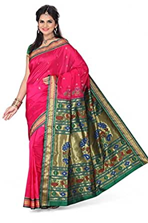 ISHIN Paithani Tana Silk Pink Saree STCS-63