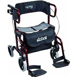 Drive Medical 745R Diamond Déambulateur/fauteuil roulant de transfert avec repose-pieds