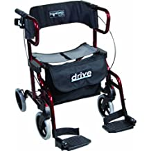 Drive Medical Diamond Deluxe - Silla de rueda, con reposapiés, color negro y rojo