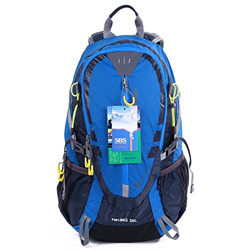 EGOGO 30L Wasserdicht Wanderrucksack Camping Rucksack mit Regenschutz Laufen Radfahren im freien S2316 (Blau) -
