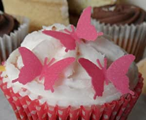 Mini 20mm Bright Pink Edible Rice Paper Butterfly Cup Cake Wedding Cake Decoration x 24