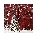 QMIN Wanduhr, Weihnachtsbaum, Kaffeebohnen, Schneeflocken, quadratisch, geräuschlos, kein Ticken, leise Uhr für Schlafzimmer, Wohnzimmer, Küche, Büro, Home Decor