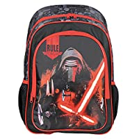PERLETTI - Star Wars Backpack for Kids - Boys Rucksack with Front Pocket - Kylo Ren Print - School Bag for Elementary Kindergarten - Adjustable Shoulder Straps - 41x27x14 cm - Black Red