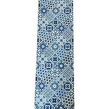 Tappeto cucina a metraggio largo 52 cm ( si vende a multipli di 1 m) maiolica mosaico vietri (BLUE) MADE IN ITALY