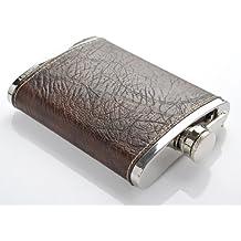 """Monumentum """"Honest"""" Petaca 230ml (8 oz), cuero sintetico de calidad superior, incluye embudo, marrón - Mod. 4918"""