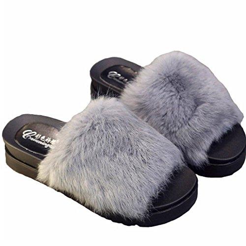 DM&Y 2017 Coniglio vera parola di trascinamento Miss Mao Zhonggen skid pantofole felpa pantofole moda crosta spessa Grey