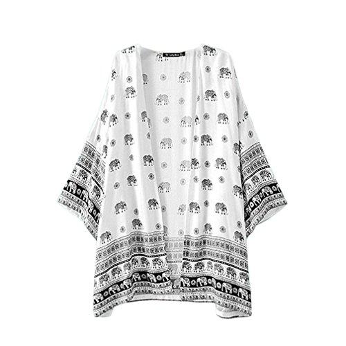 Bluse Damen, BeautyG Frauen Elefanten gedruckt Kimono Strickjacke Tops Bluse decken bis (Plus Chinesische Größe Kostüme)