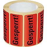 LEMAX® Organisationsetikett Gesperrt!, rot, Haftpapier, ablösbar, 50x20mm, 500/Rolle