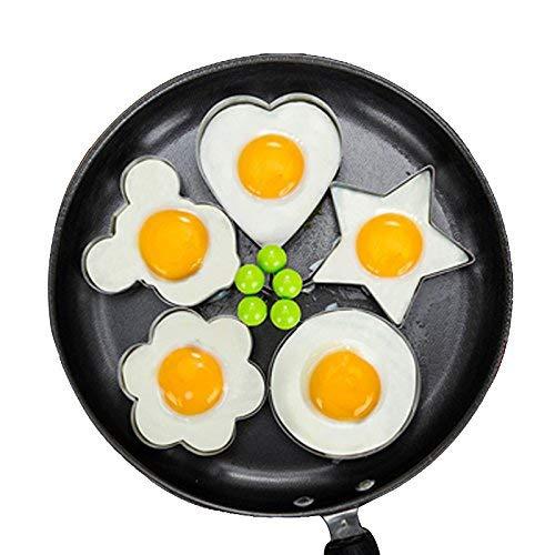 Lancoon Spiegelei-Form, 5er-Set Antihaft für Bratpfanne, Eierformer-Pfannkuchenmacher mit Griff-Ei-Form zum Braten kochen KT31