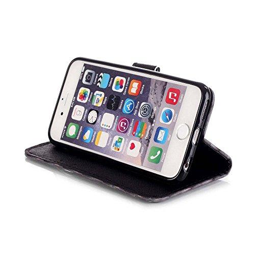 C-Super Mall-UK Apple iPhone 7 Plus hülle: exquisit gemalten 3D Muster PU-Leder Brieftasche Stand Flip hülle für Apple iPhone 7 Plus(Schwarzer Schädel) Tribal Feather
